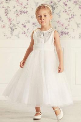 Simple Jewel Sleeveless Beaded Tulle Flower Girl Dresses | Wedding Dress for Girls_1