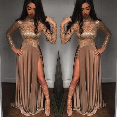 High Sheer Neck Prom Sexy Slit Dresses Side Party Dresses_4