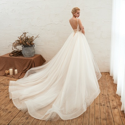 Gorgeous Spaghetti Straps V-neck Floor Length A-line Lace Tulle Wedding Dresses_10