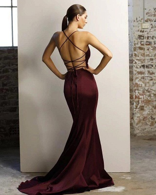 Spaghetti Straps V-neck Fitted Bridesmaid Dresses | Sexy Long Maid of Honor Dresses_5