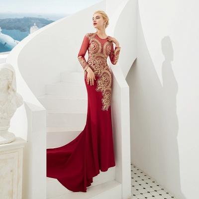 Gorgeous Form-fitting Long Sleeves Floor Length Prom Dresses | Long Beaded Evening Dresses_6