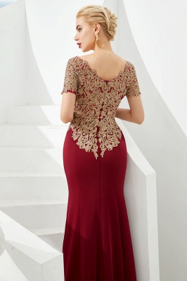 Bateau Short Sleeves Applique Fitted Long Prom Dresses | Burgundy Evening Dresses_9