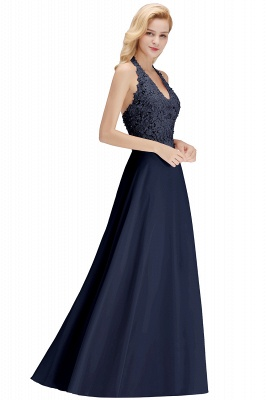 Cheap A-line Halter Chiffon Lace Bridesmaid Dress with Beadings in Stock_23