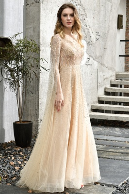 Georgeous Bateau Beading Crystal Prom Dresses | Floor Length A Line Evening Gown_12