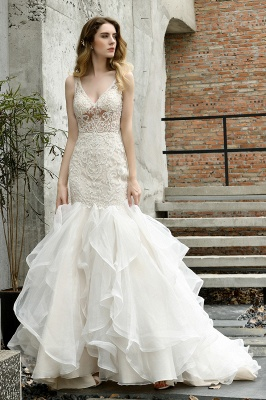Wholesale Long Mermaid Lace Organza Wedding gowns Ruffles Train_11