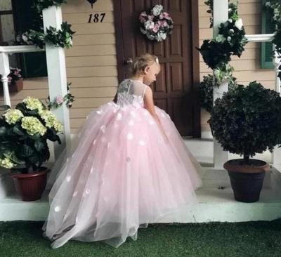 Jewel Sleeveless Tulle Ball Gown Flower Girl Dresses | Kids Dresses for Wedding_2