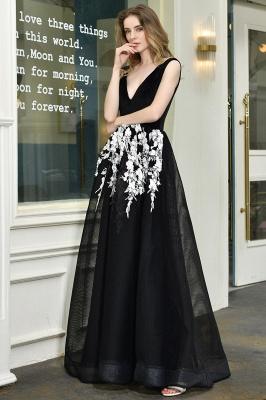 Black Straps Deep V neck A Line Prom Dresses | Applique Lace Corset Back Evening Dresses_6