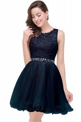 Cheap A-line Knee-length Tulle Prom Dress with Appliques in Stock_4