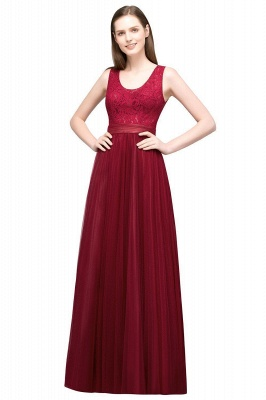 A-line Scoop Long Sleevless Lace Top Burgundy Tulle Prom Dress In Stock_1