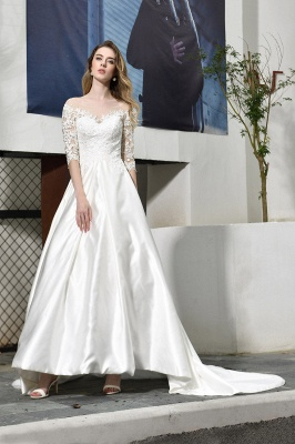 Glamorous 3/4 Sleeves Floor Length Length A-Line Lace Wedding Dresses_6