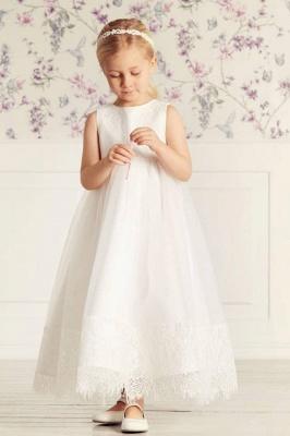 Jewel Sleeveless Lace Tulle Long Flower Girl Dresses   Dress for Flower Girls_1
