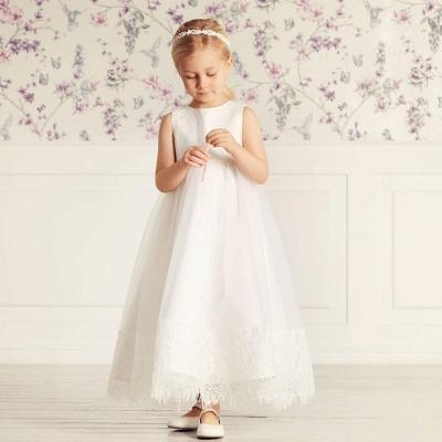 Jewel Sleeveless Lace Tulle Long Flower Girl Dresses   Dress for Flower Girls_4