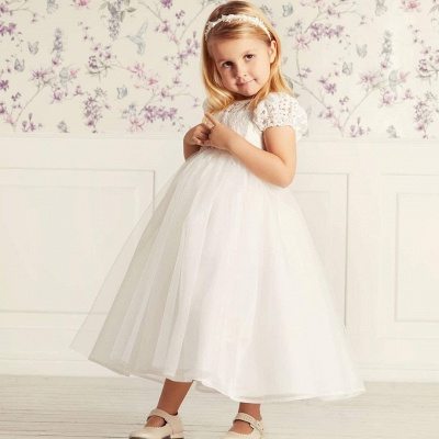 Cute Jewel Puffy Sleeves Ribbon Belt A-line Lace Tulle Flower Girl Dresses_4