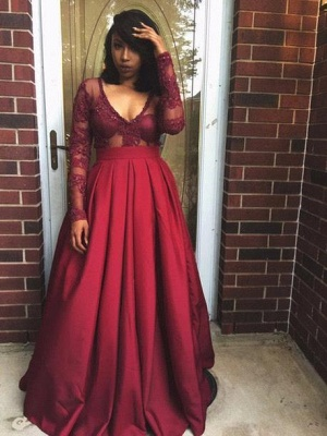 V-Neck Long-Sleeves Appliques Sexy Prom Dresses_2