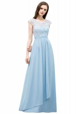 A-line Long Cap Sleeves Lace Top Chiffon Bridesmaid Dress_1