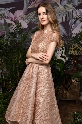 Champagne High Neck Short Sleeve Sequined A Line Prom Dress   Tea Length Ruffles Evening Gown_10