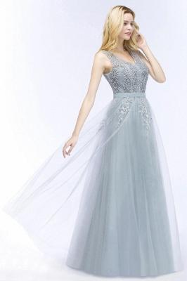 Stylish V-neck Tulle Lace Long Evening Dress_4