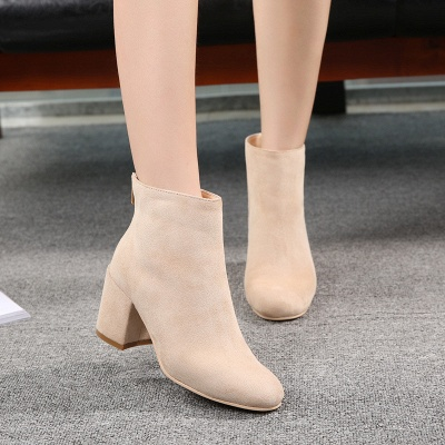 Black Apricot Short Boots Women's Winter Thick Heel_8