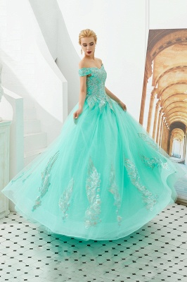 Glamorous Off the Shoulder Sweetheart Applique A-line Floor Length Prom Dresses_14