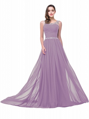 A-line Court Train Chiffon Cheap Party Dress With  Beading_8