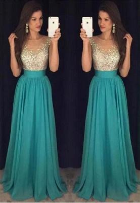 Scoop Floor-Length Elegant Long Crystal Chiffon Prom Dress_2