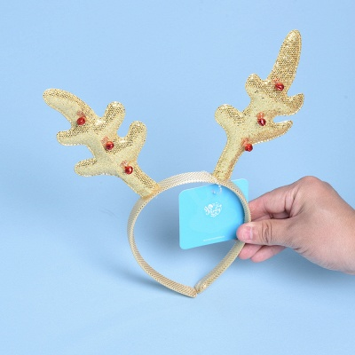 Christmas Decoration Gold Wapiti Deer Headhand_4