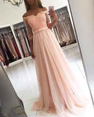 A-line Half-Sleeves Off-the-shoulder Tulle Glamorous Lace Prom Dresses_2