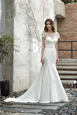 Gorgeous Off the Shoulder Affordable Ivory Mermaid Lace Wedding Dresses_9