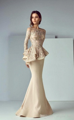 Elegant Jewel Floor Length Long Sleeves Peplum Champagne Prom Dresses_2