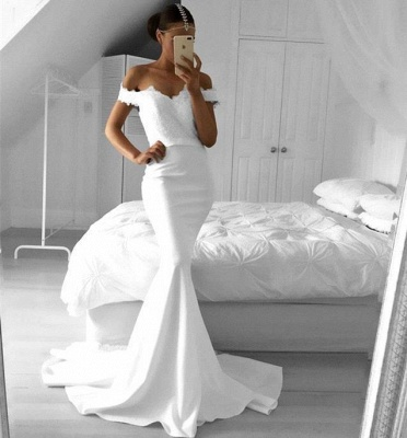 Lace Off-the-Shoulder Mermaid Elegant Prom Dresses_2