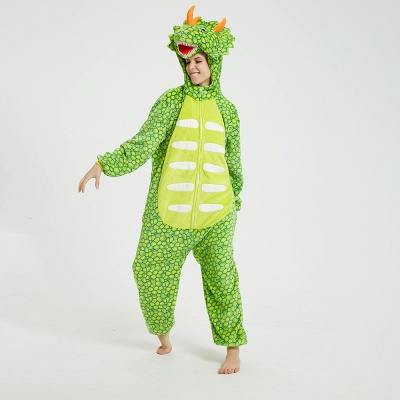 Cute Animal Pyjamas for Women Triceratops Onesie, Green_12