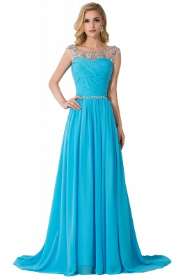 A-line Court Train Chiffon Cheap Party Dress With  Beading_3