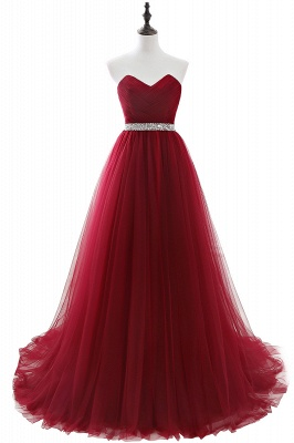 Cheap modest sweetheart sleeveless beading a-line prom dress in Stock_3