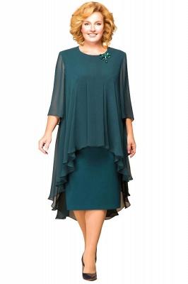 Elegant Chiffon Jewel 3/4 Sleeves Tea Length Mother of Bride Dress_5