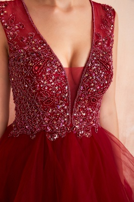 Sleeveless V-neck Sexy Long Tiered Beaded Prom Dresses | Elegant Organza Long Evening Dresses_8