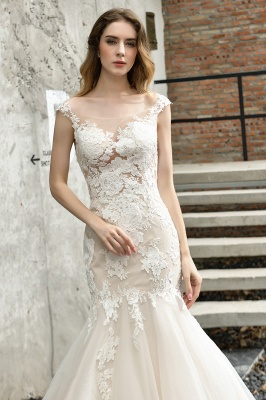 Gorgeous Floor Length  Lace Tulle Wedding Dresses Mermaid_6