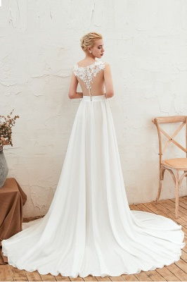 Jewel Cap Sleeves Sheer Sweep Train A-line Appliques Chiffon Wedding Dresses_9