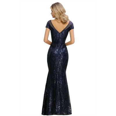Bateau Short Sleeves Long Sequins Prom Dresses   Floor Length Fitted Evening Dresses_14