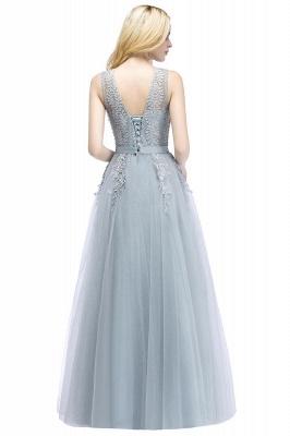 Stylish V-neck Tulle Lace Long Evening Dress_2
