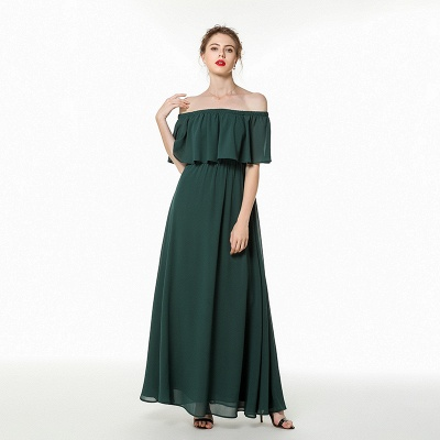 Long Chiffon Off the Shoulder Flounce Prom Dresses | Floor Length Evening Dresses Online_5