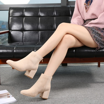 Black Apricot Short Boots Women's Winter Thick Heel_4