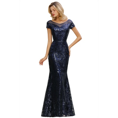 Bateau Short Sleeves Long Sequins Prom Dresses   Floor Length Fitted Evening Dresses_12