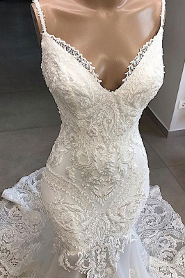 Spaghetti Straps  Sweetheart Lace Mermaid Wedding Dresses | Trumpet Style Bridal Gowns_4