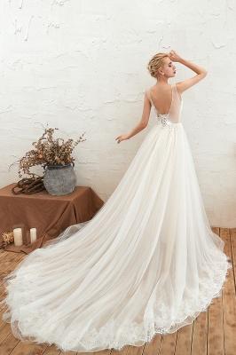 Gorgeous V-neck Straps A-line Floor Length Lace Tulle Wedding Dresses_13