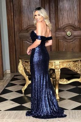 Off the Shoulder Front Slit Mermaid Sequined Prom Dresses | Sparkly Long Evening Dresses_4
