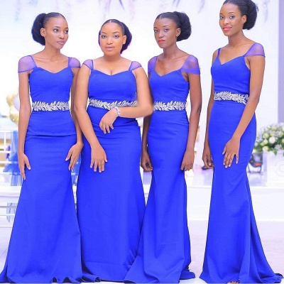 Beaded Cap Sleeves Belted Floor Length Bridesmaid Dresses | Fitted Wedding Guest Dresses_3