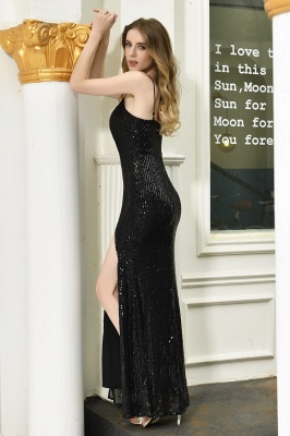 Black Spaghetti Strap V Neck Sequined Front Slit Floor Length Sheath Prom Dresses | Backless Evening Gown_5