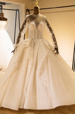 Stunning Long Sleeve Beading Lace-up Tulle Wedding Dress | Haute Couture Bridal Gowns Series_1