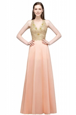 RENA | A-line Floor Length Spaghetti V-neck Appliqued Chiffon Bridesmaid Dresses_1