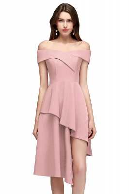 Cheap A-line Asymmetrical Short Off-the-shoulder Burgundy Prom Dress in Stock_1